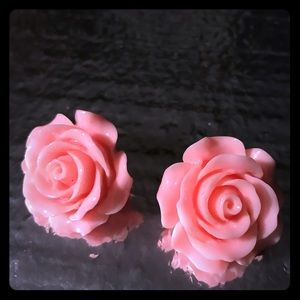 Large oversized pink rose earrings stud post pinup